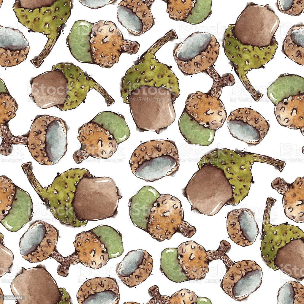 Seamless Pattern with Watercolor Acorns vector art illustration