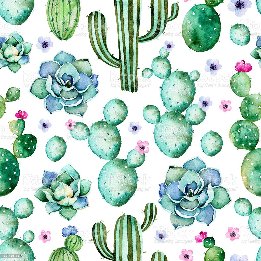 Seamless pattern with watercolor cactus plants,succulents vector art illustration