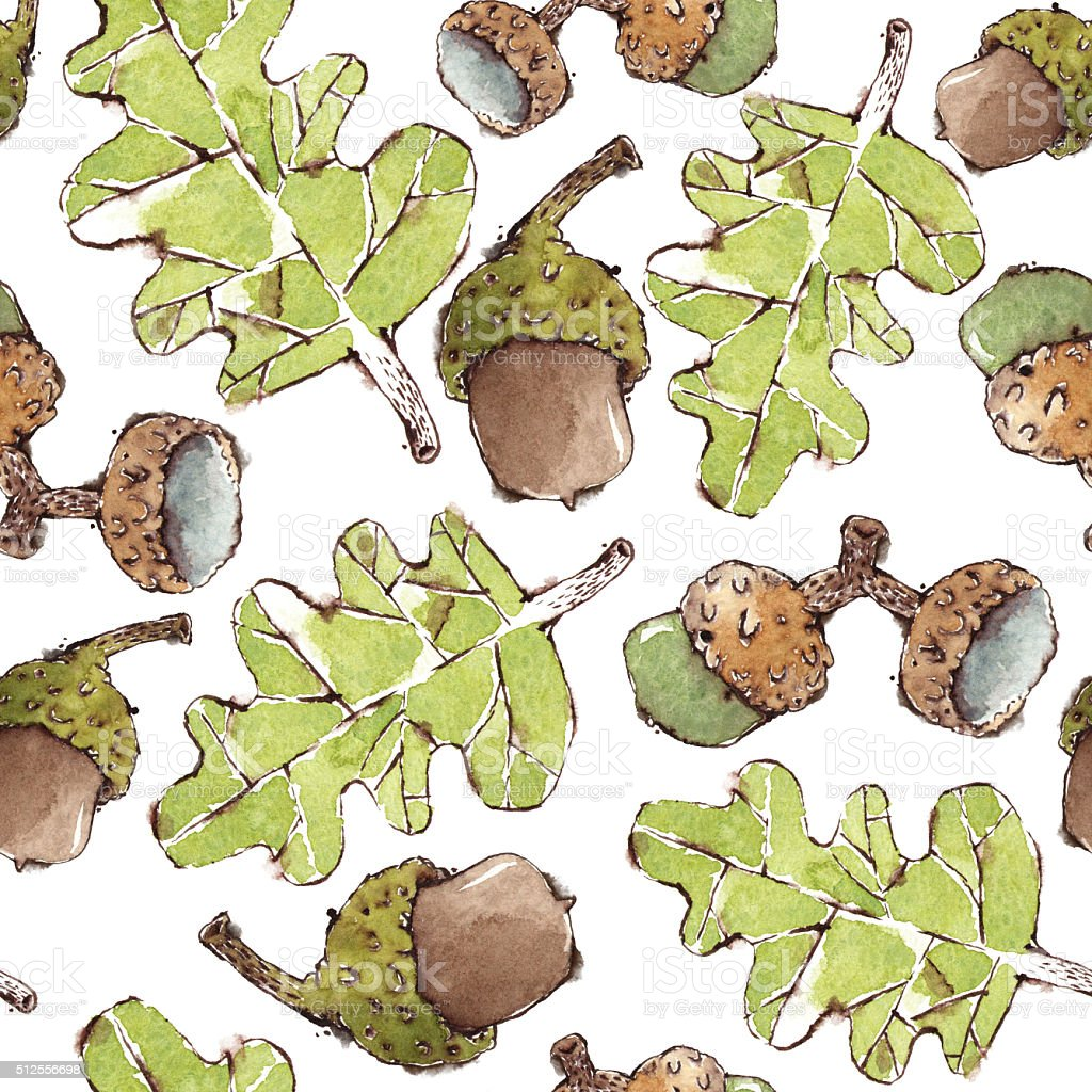 Seamless Pattern with Watercolor Oak leaves and Acorns vector art illustration
