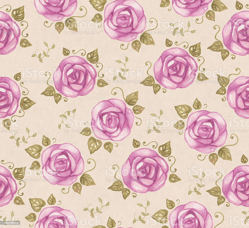 Seamless pattern with watercolor roses royalty-free stock vector art