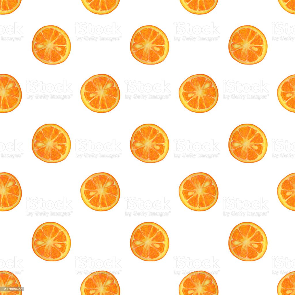 Seamless pattern with watercolor slices of orange stock photo