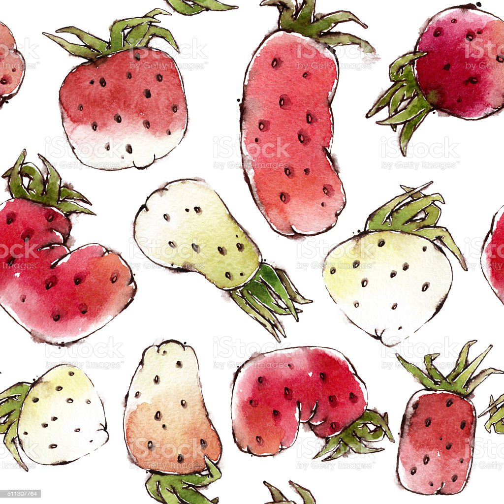 Seamless Pattern with Watercolor Strawberries vector art illustration