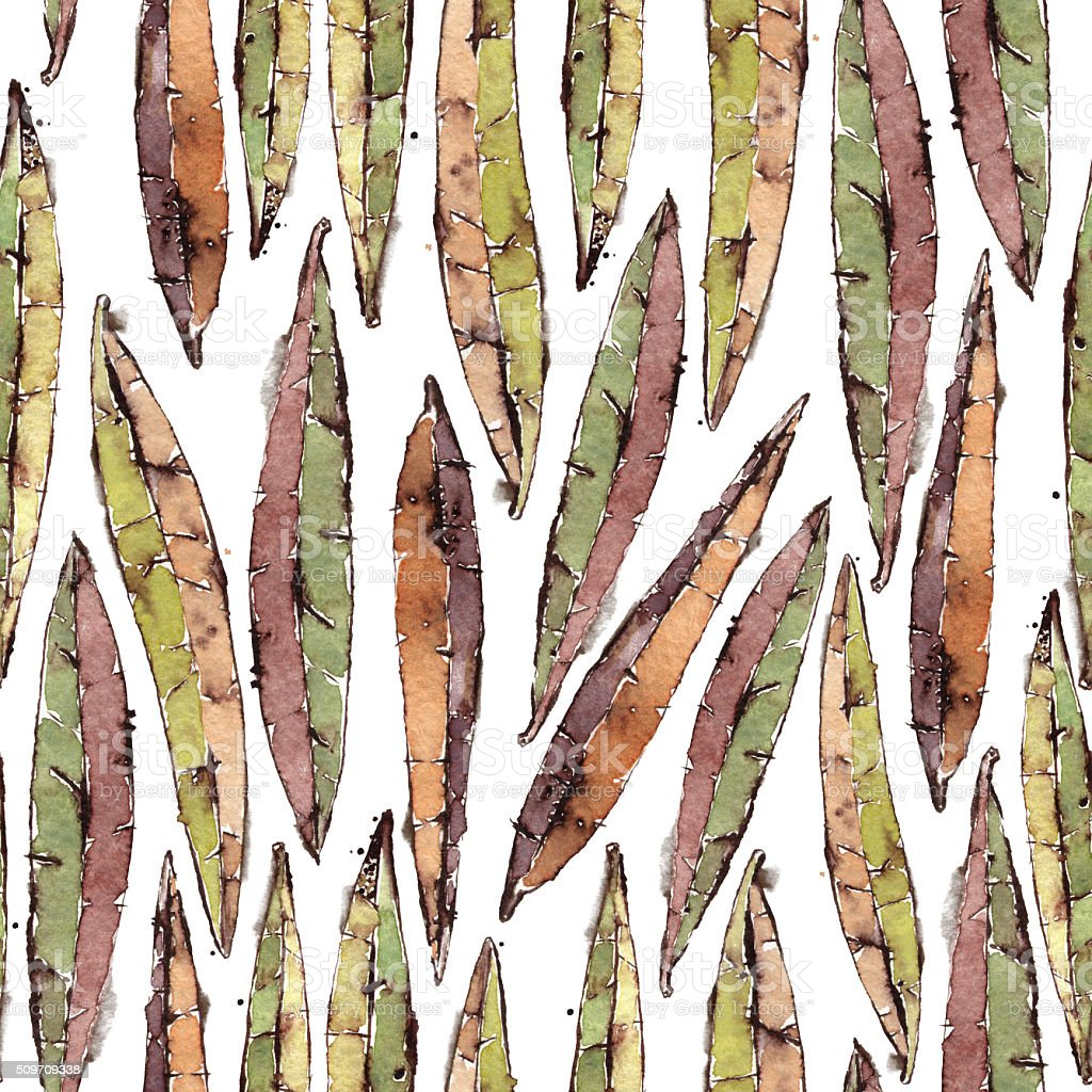 Seamless Pattern with Watercolor Willow Leaves vector art illustration