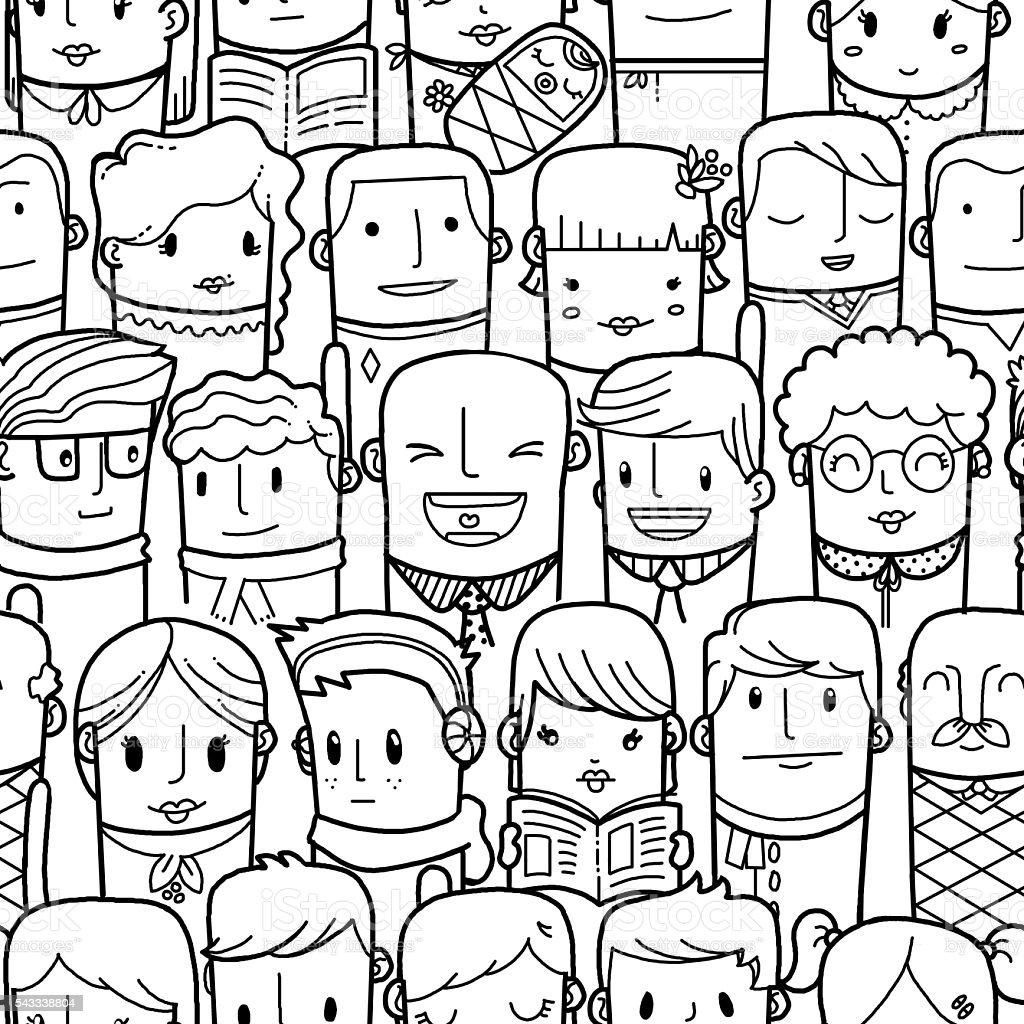 Seamless people pattern stock photo