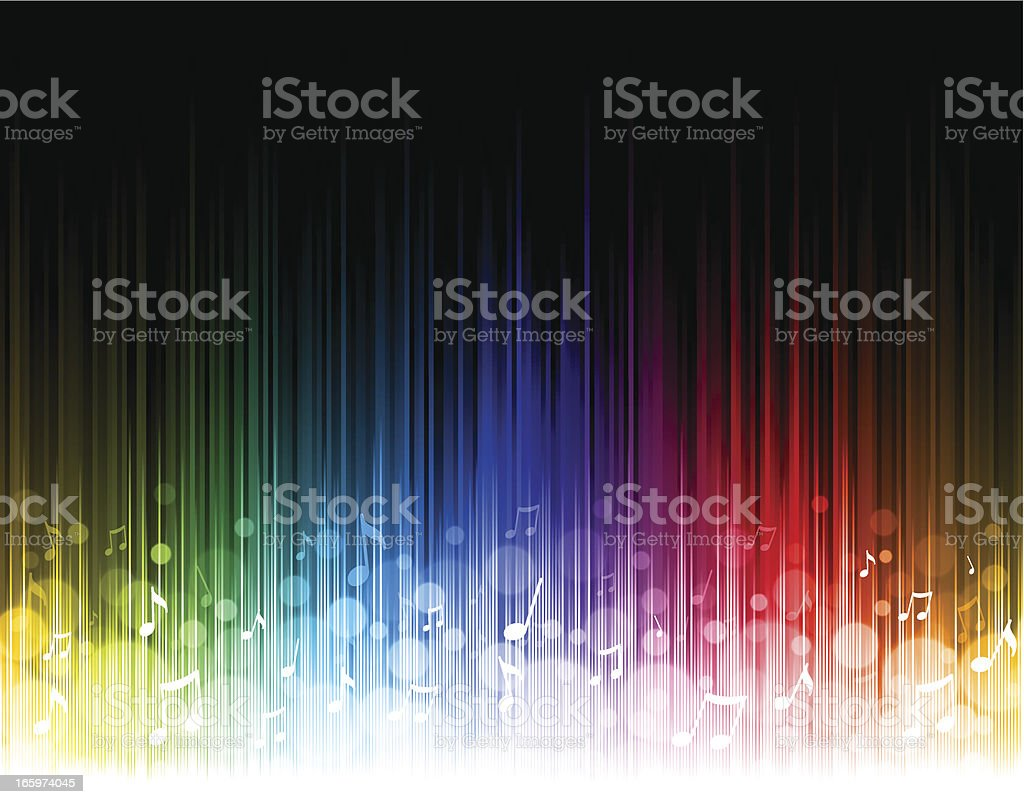 Seamless rainbow music background vector art illustration