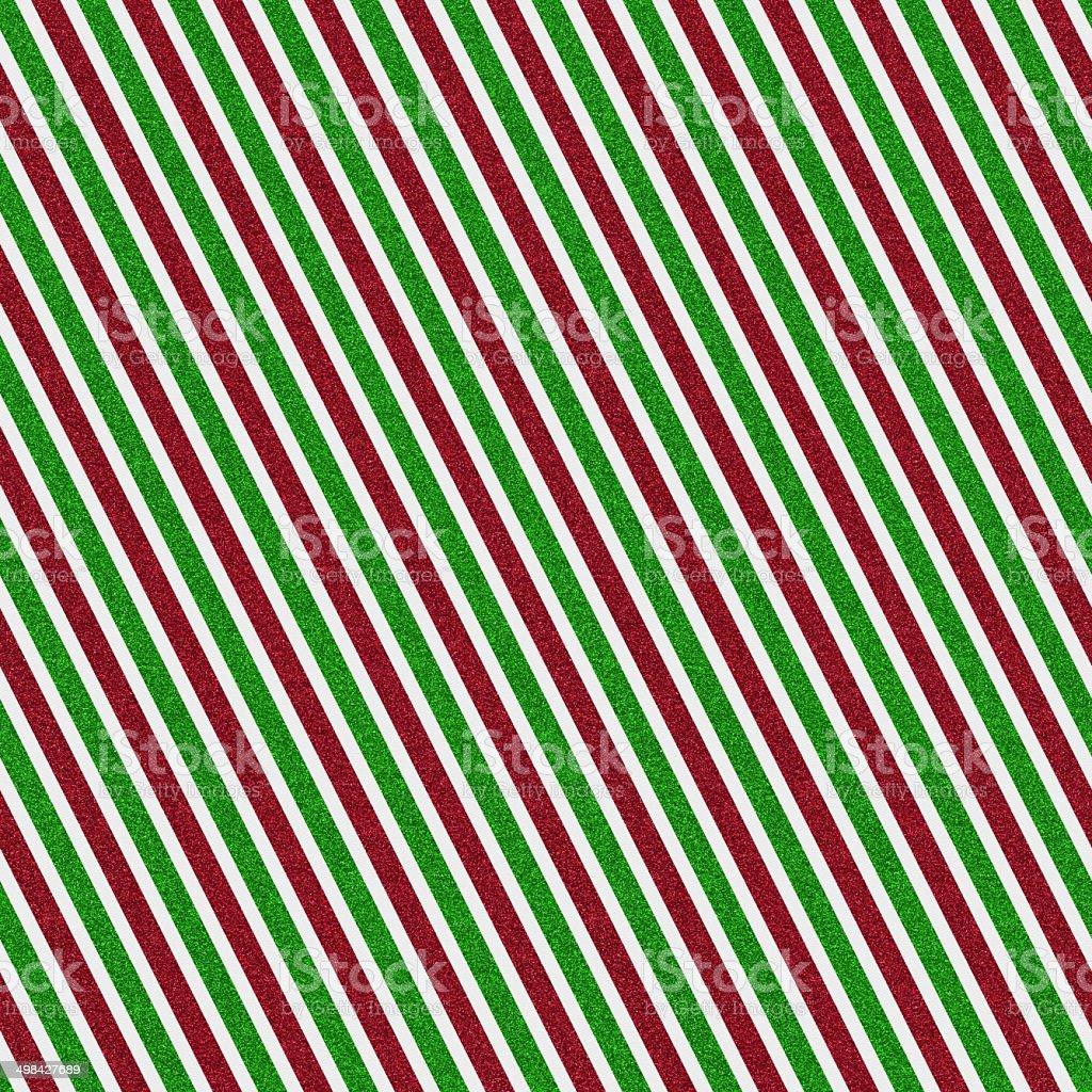 Seamless red and green glitter stripe pattern on white paper vector art illustration