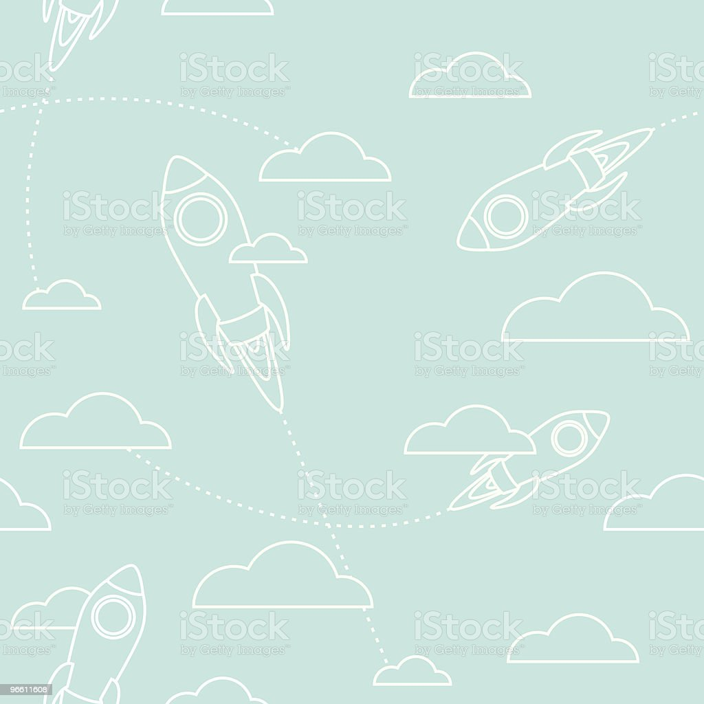 Seamless rockets and clouds royalty-free stock vector art