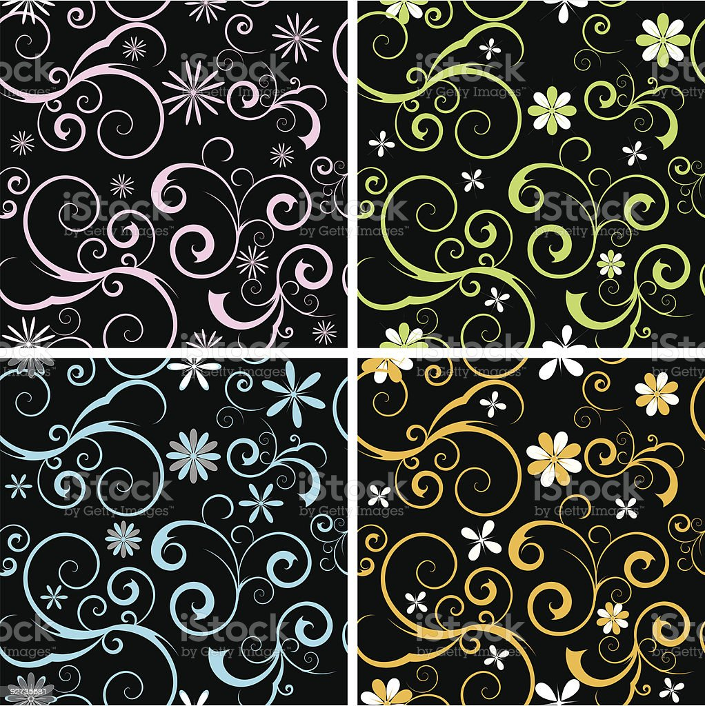 Seamless Scrolls and flowers royalty-free stock vector art