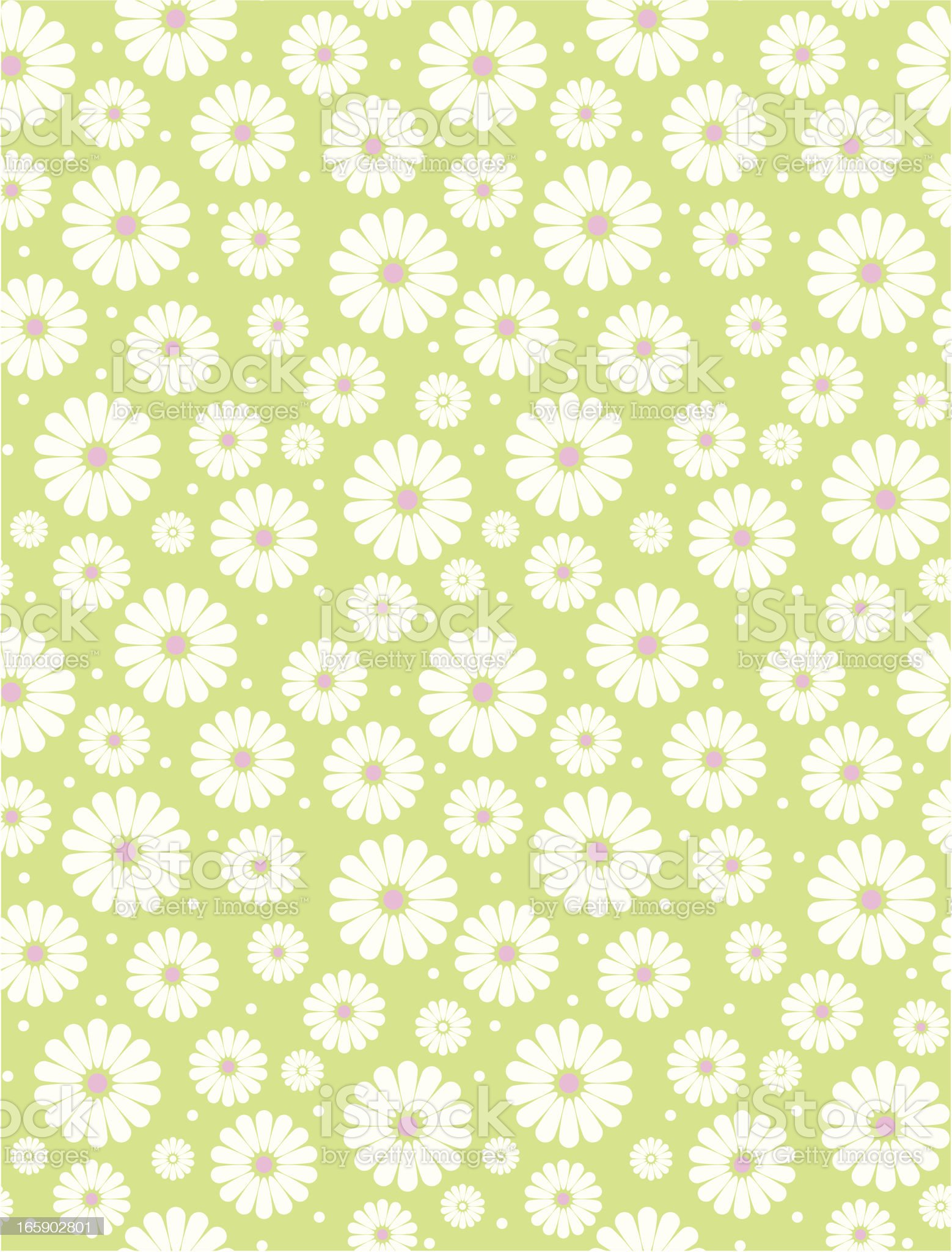 Seamless Simple Lime & White Daisy Polka Repeat Pattern royalty-free stock vector art