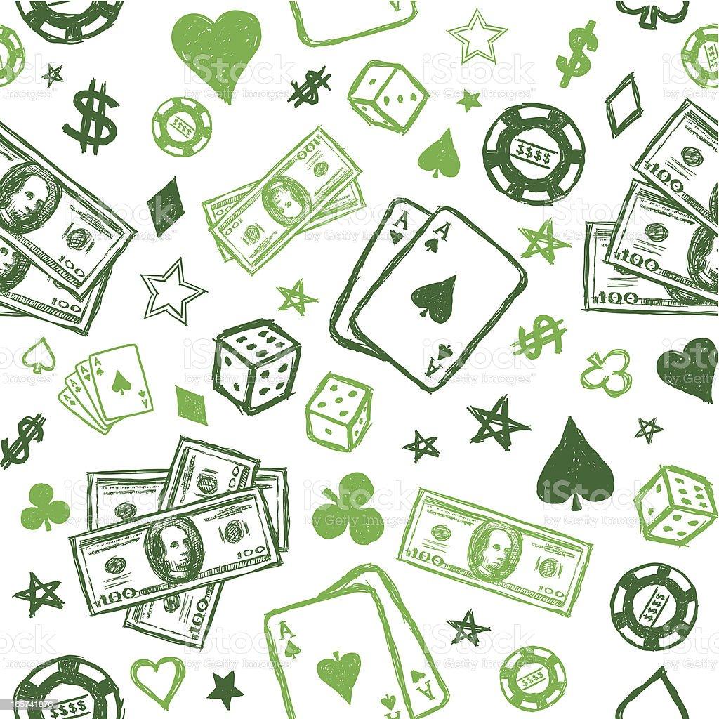 Seamless sketchy gambling background royalty-free stock vector art