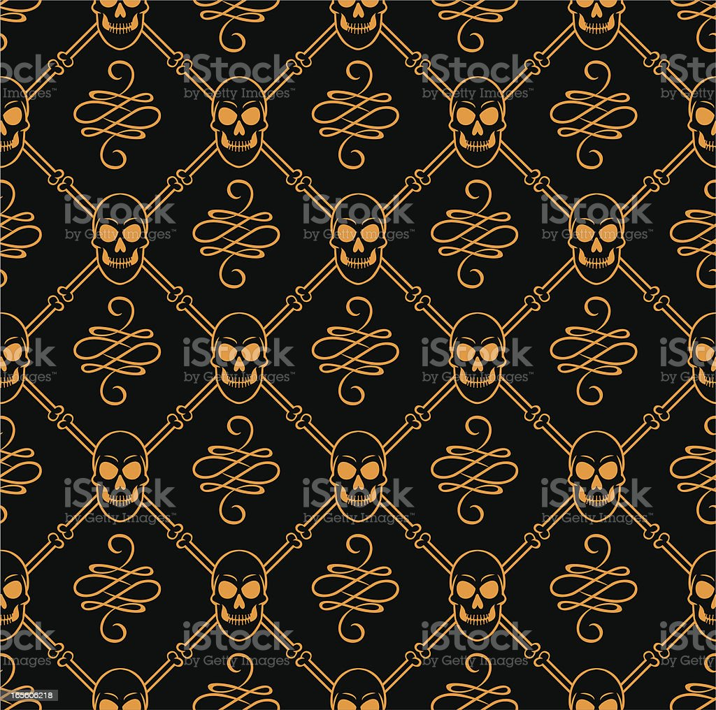 seamless skulls vector art illustration
