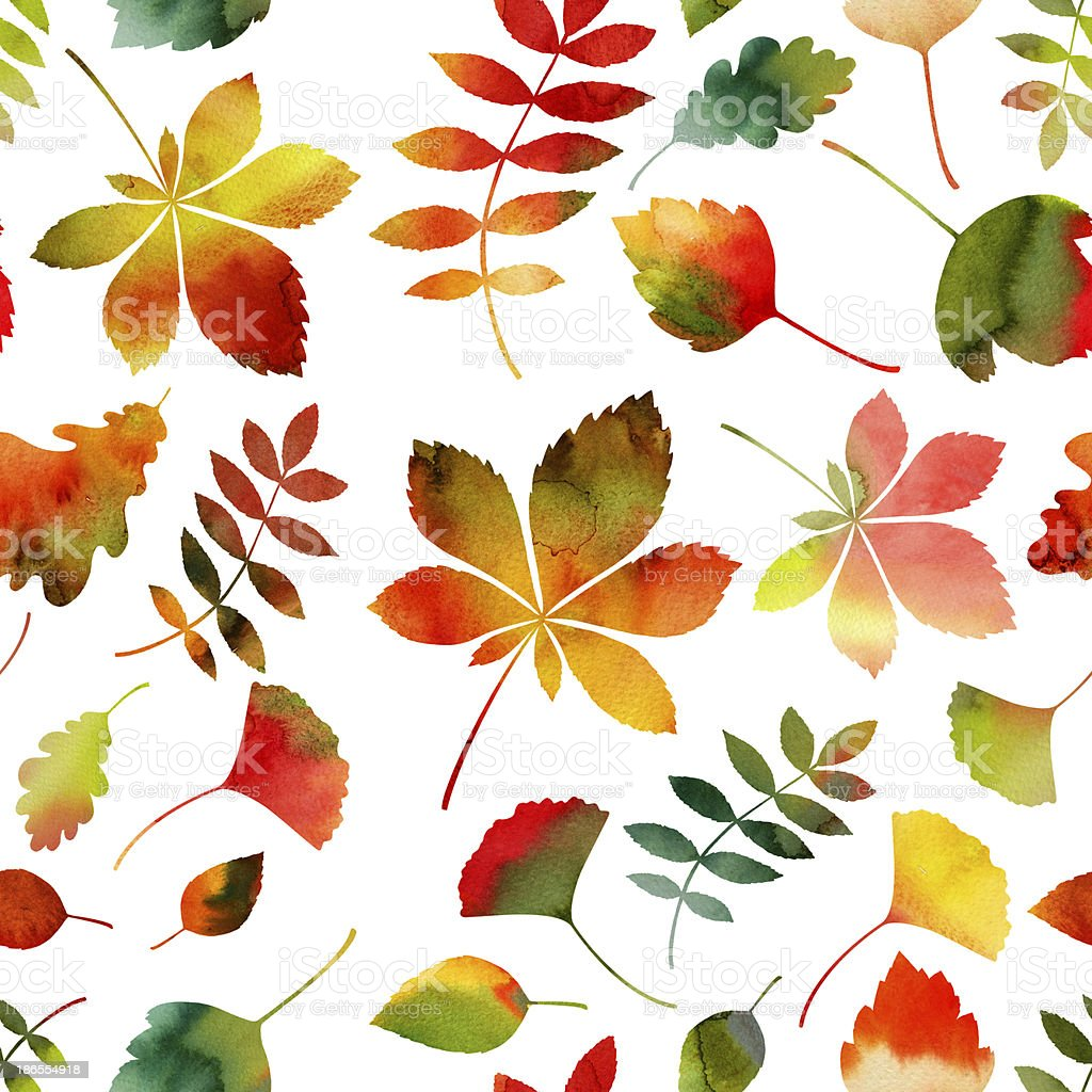 Seamless Watercolor Autumn Leaves Pattern royalty-free stock vector art