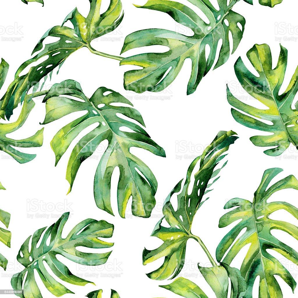 Seamless watercolor illustration of tropical leaves, dense jungle. vector art illustration