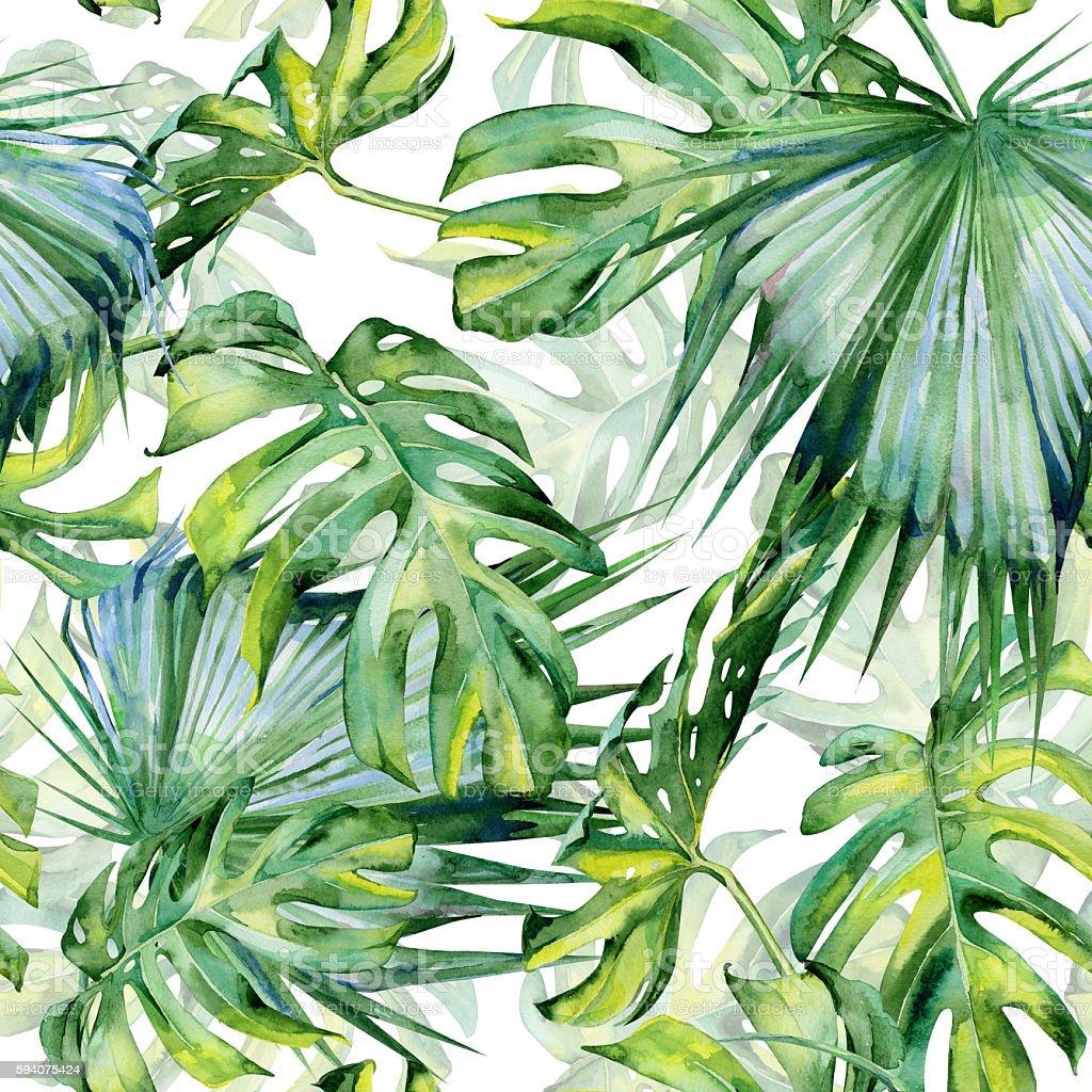 Seamless watercolor illustration of tropical leaves, dense jungle vector art illustration