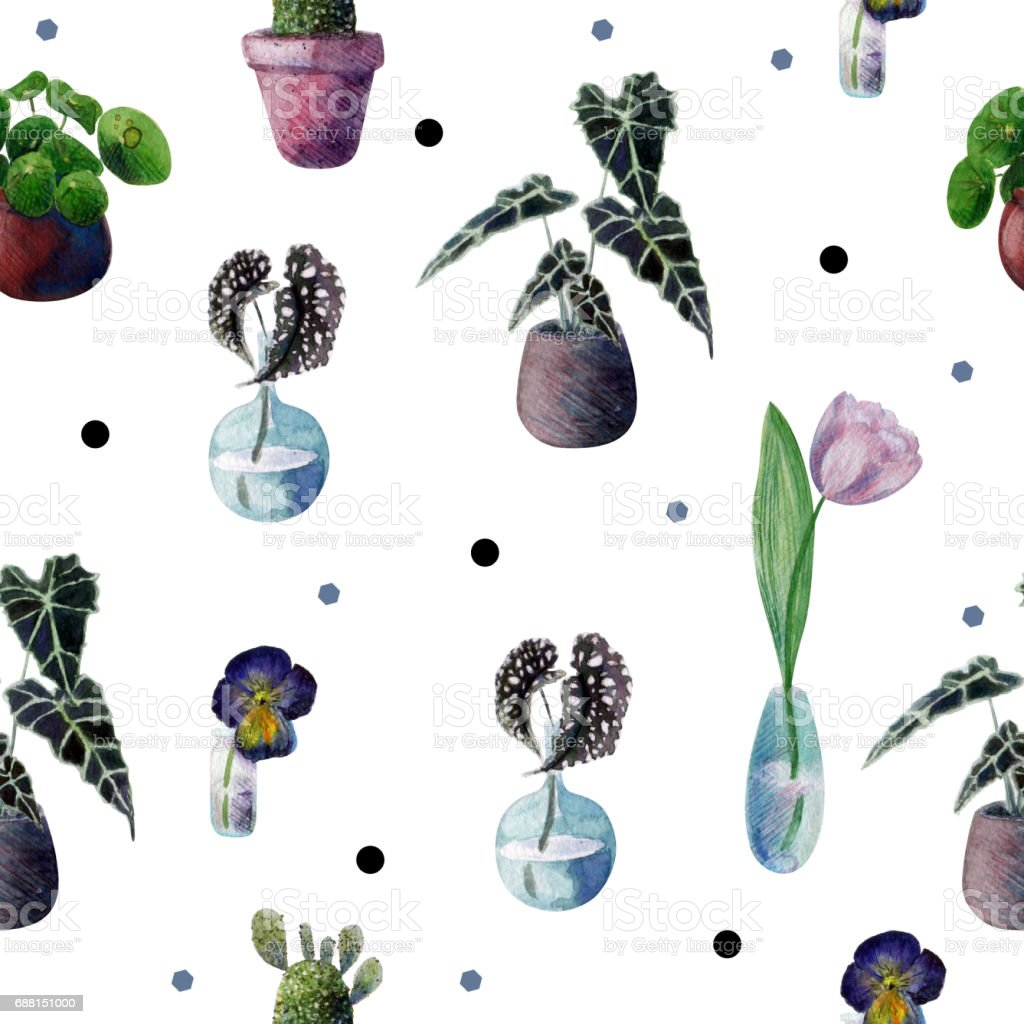 Seamless watercolor pattern with indoor plants and polka dots. Cactus, Pilea, Begonia, Pansies, Tulip, Sansevieria. vector art illustration