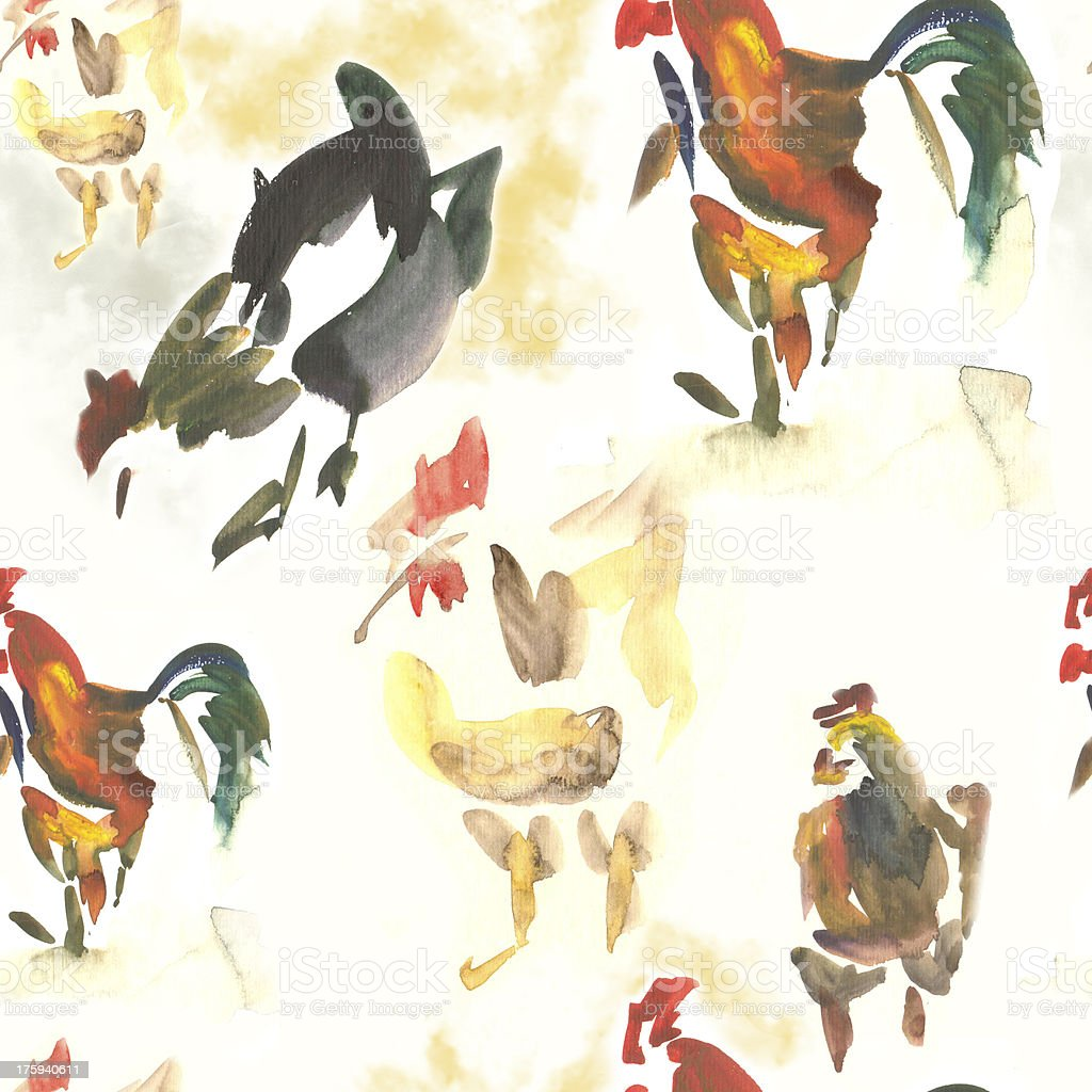 Seamless Watercolor Rooster royalty-free stock vector art