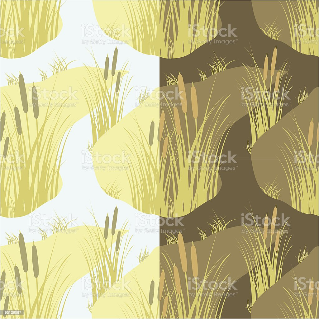 seamless with marsh rush vector art illustration