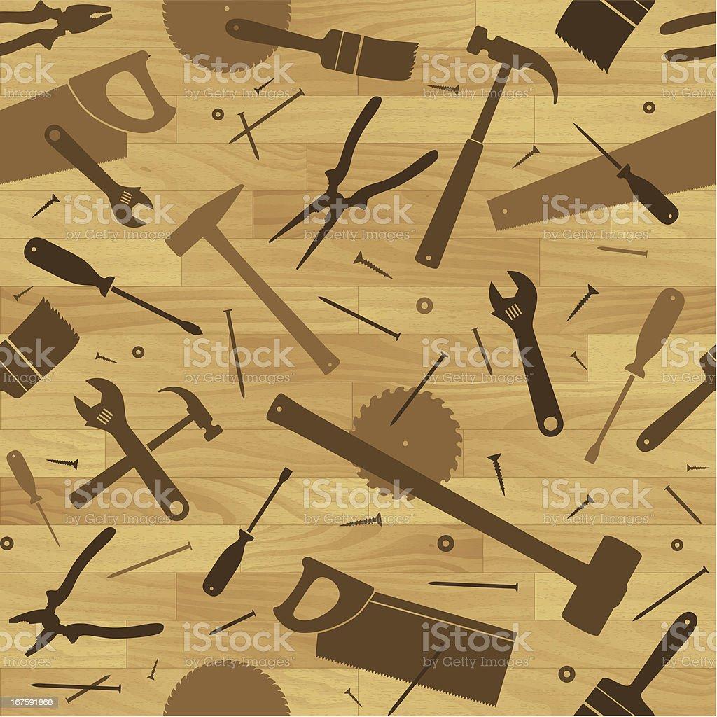 Seamless woodwork tools background vector art illustration