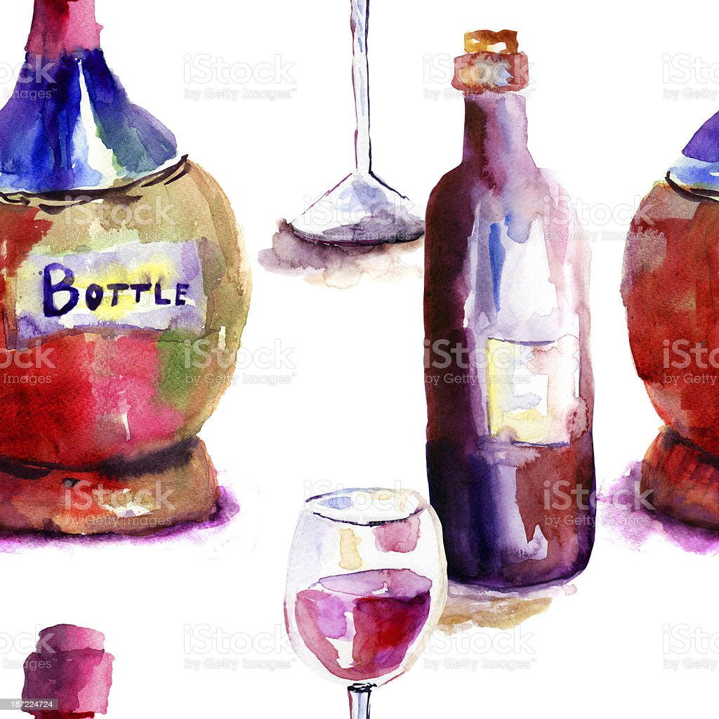 Seamlss wallpaper with Bottles royalty-free stock vector art