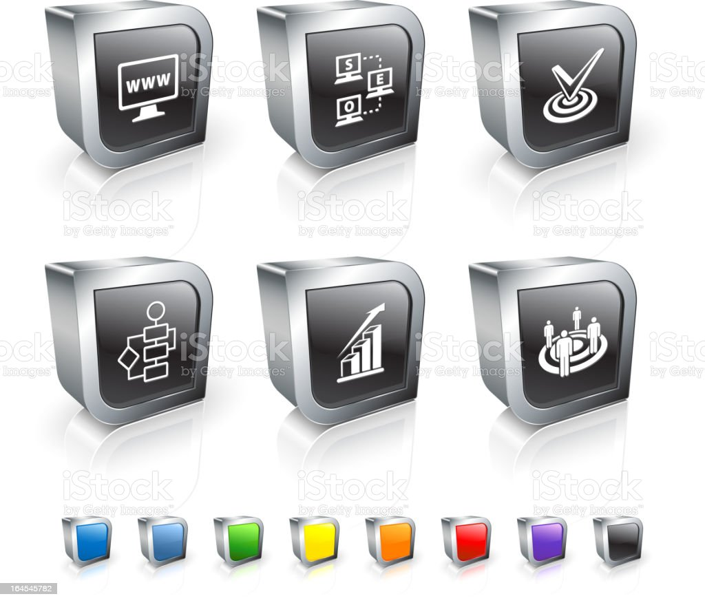 Search engine optimization and internet marketing 3D vector icon set royalty-free stock vector art
