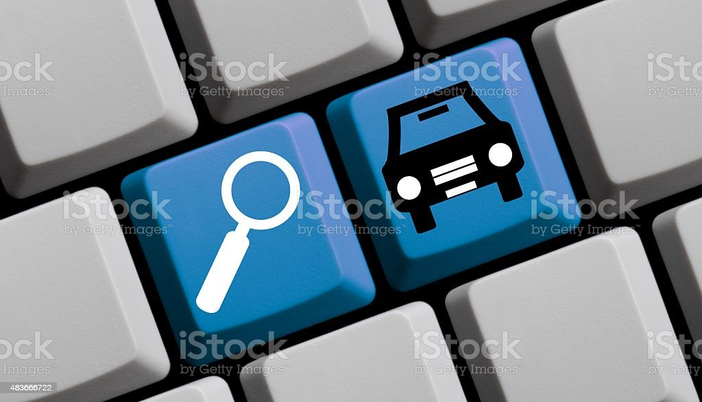 Search for cars online vector art illustration