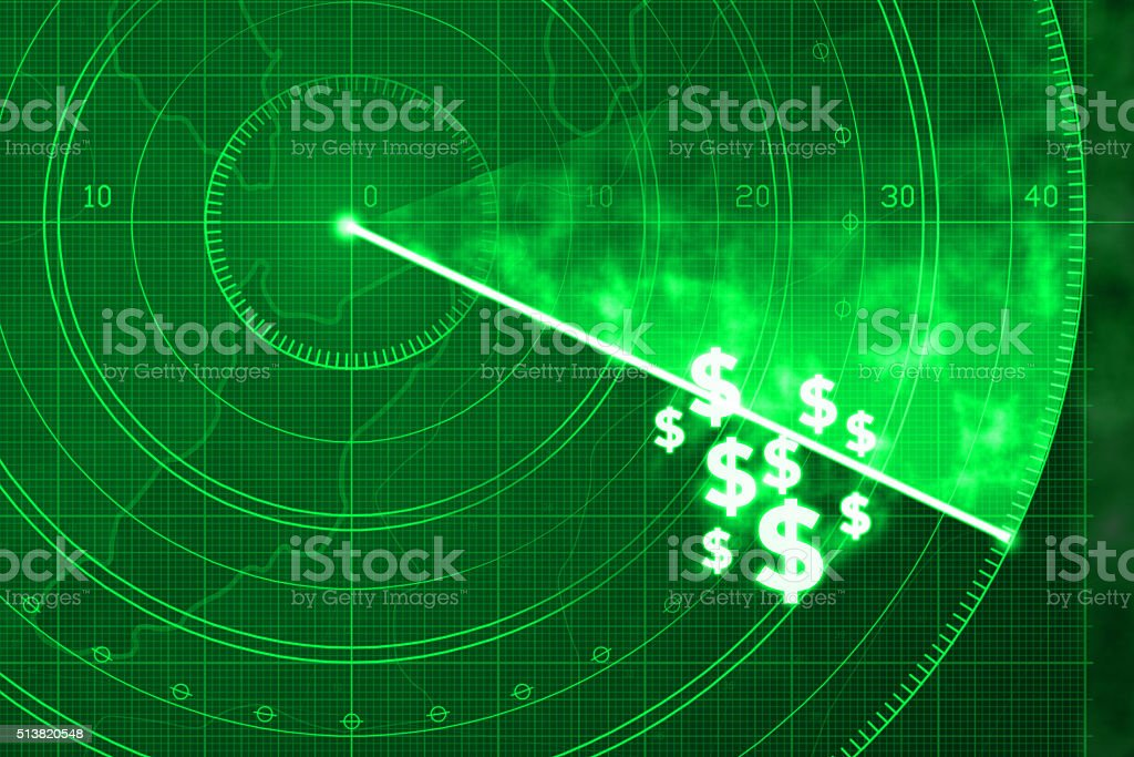 Searching and locating money with radar, investment strategy vector art illustration