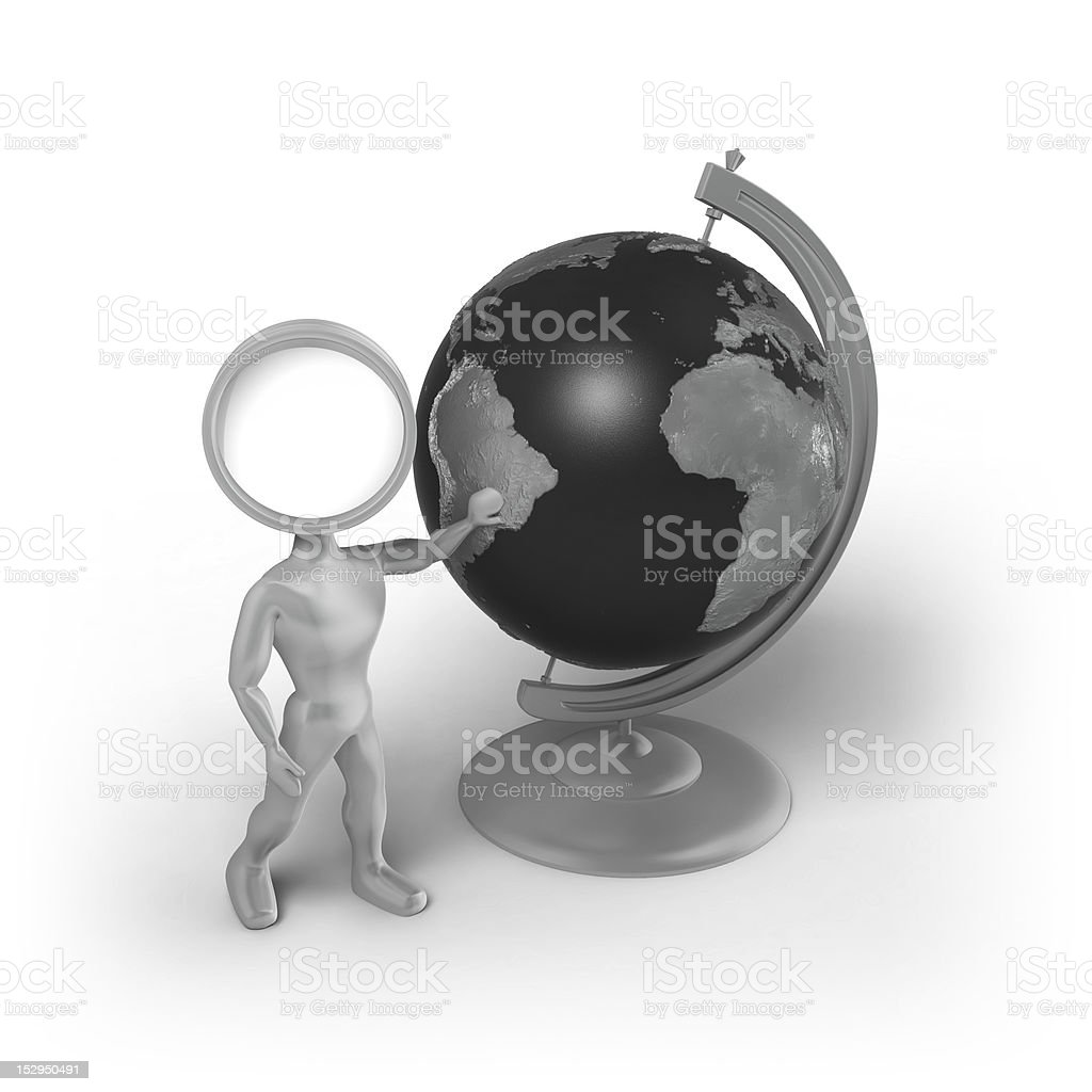 Search-Man with a globe royalty-free stock vector art