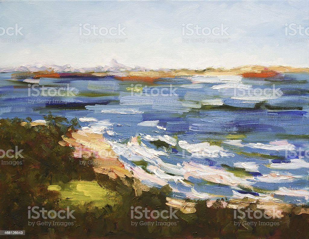Seascape Oil Painting vector art illustration