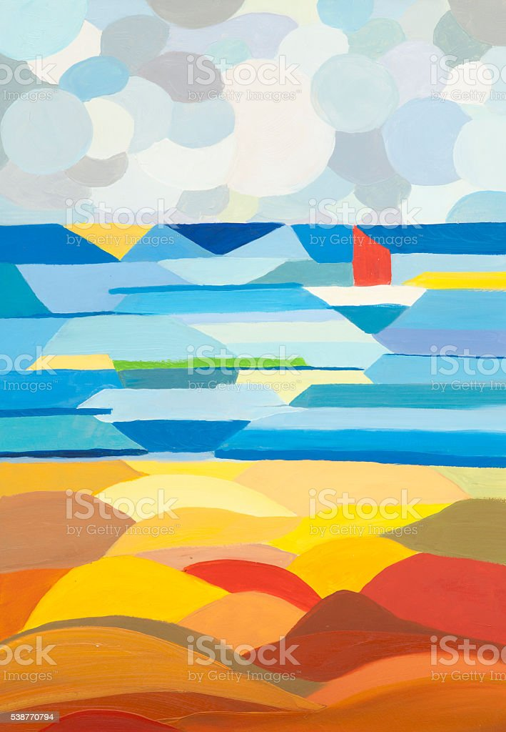 Seascape oil painting in the style of Cubism vector art illustration