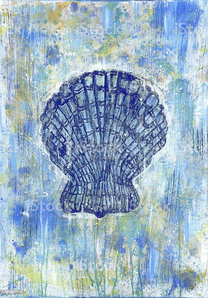 Seashell pectinidae art painting royalty-free stock vector art