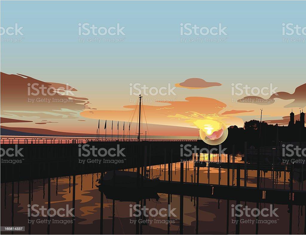 seaside landscape and sunset vector art illustration