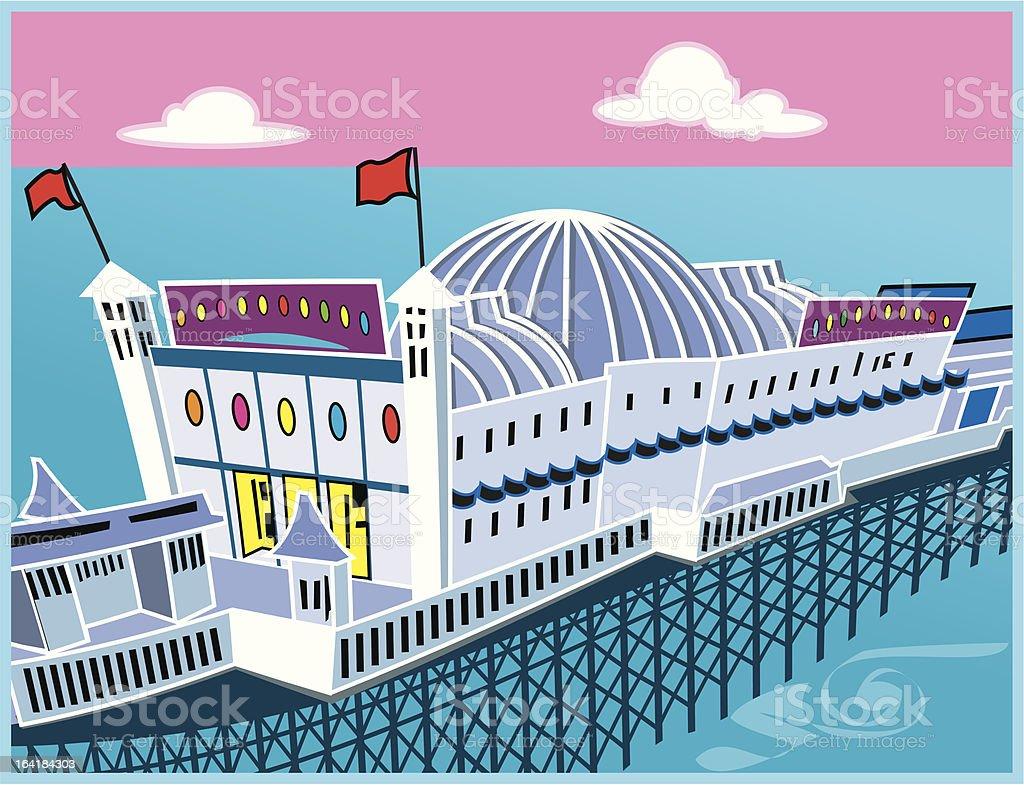 Seaside pier vector art illustration