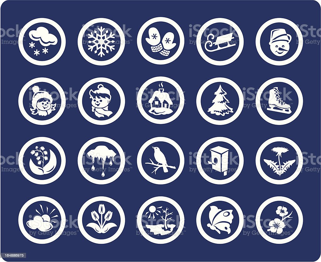 Seasons: Winter and Spring 20 vector icons  (set #03) royalty-free stock vector art