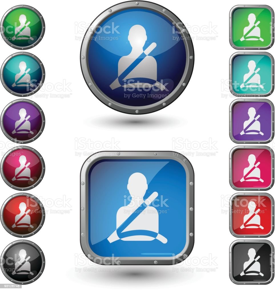 Seat Belt - glossy buttons with steel frame. vector art illustration
