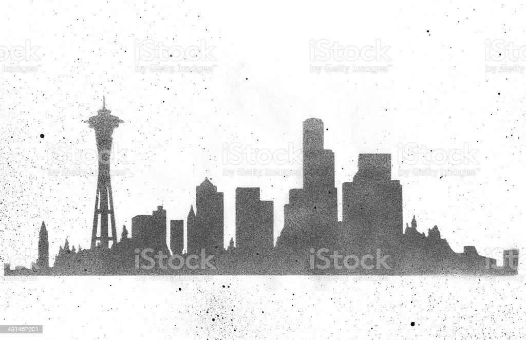 Seattle Skyline Stencil vector art illustration