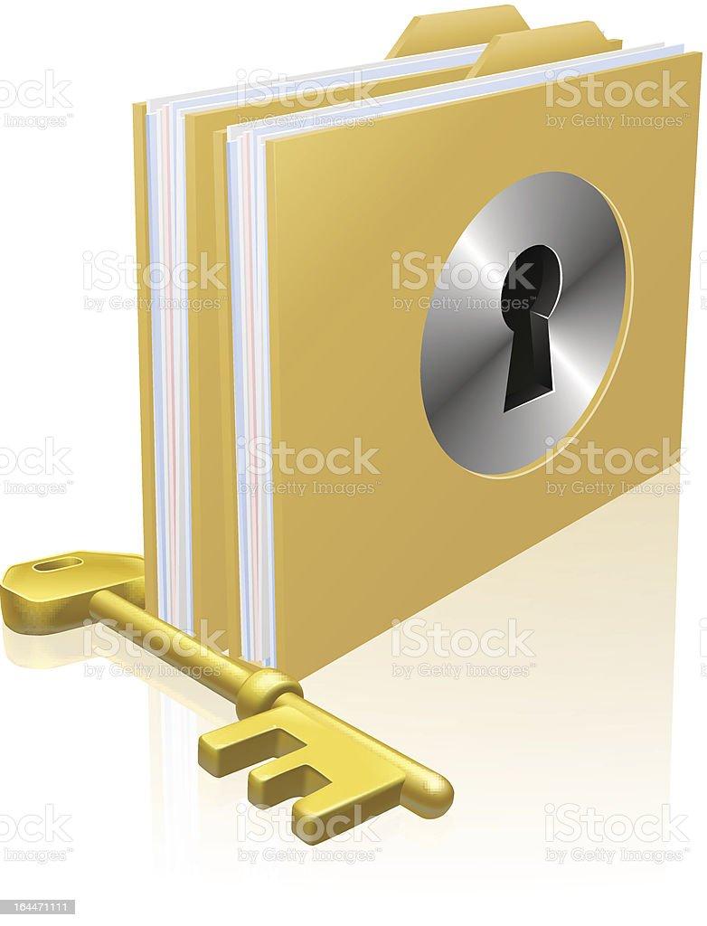 Secure file folder vector art illustration