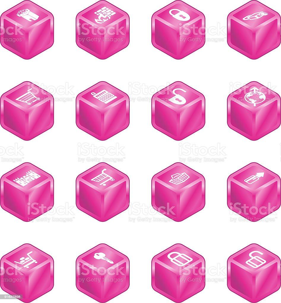 Security and E-Commerce Cube Icon Set Series royalty-free stock vector art