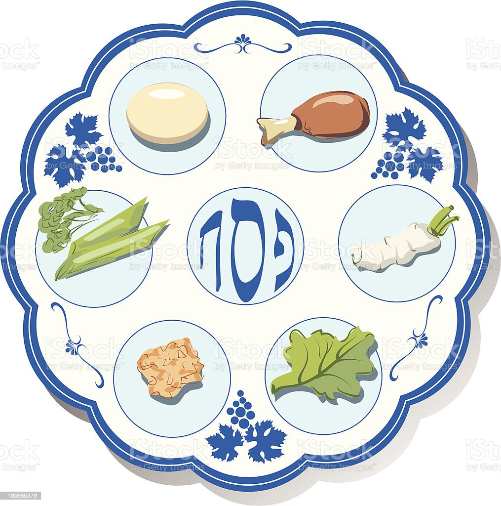 Seder plate vector art illustration