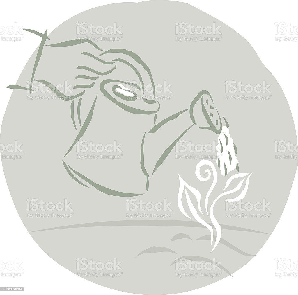 seedling being watered vector art illustration