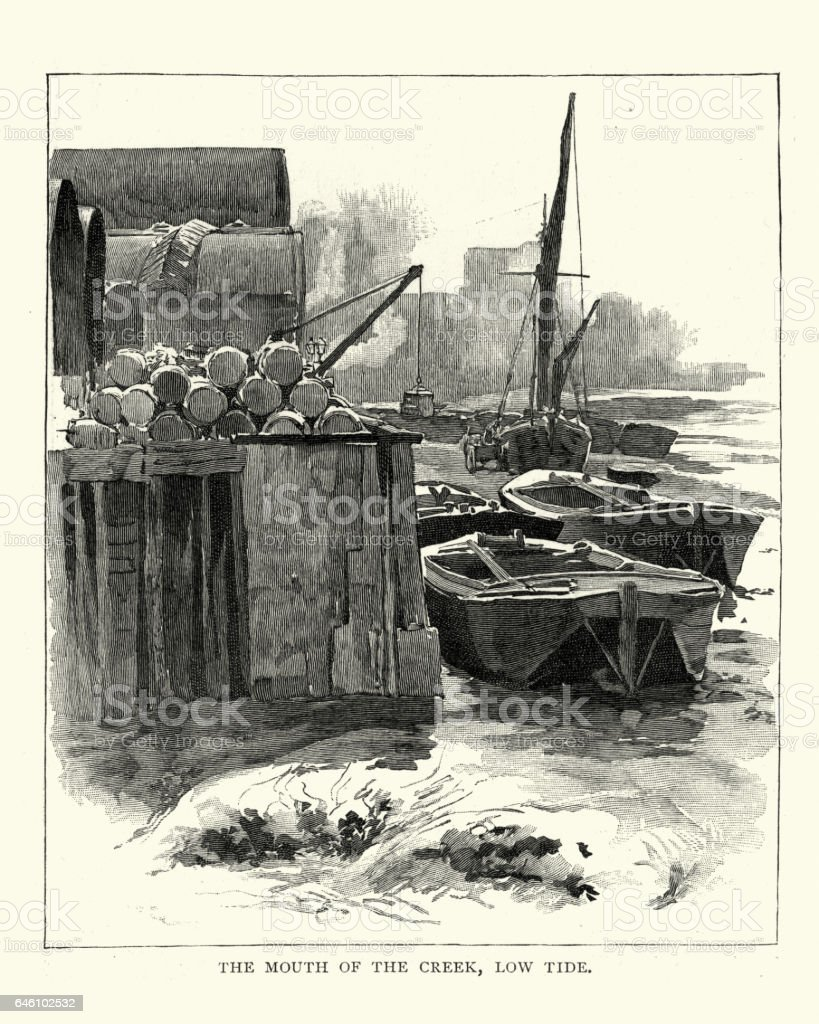 Selborne, Mouth of the Creek at Low Tide, 1892 vector art illustration