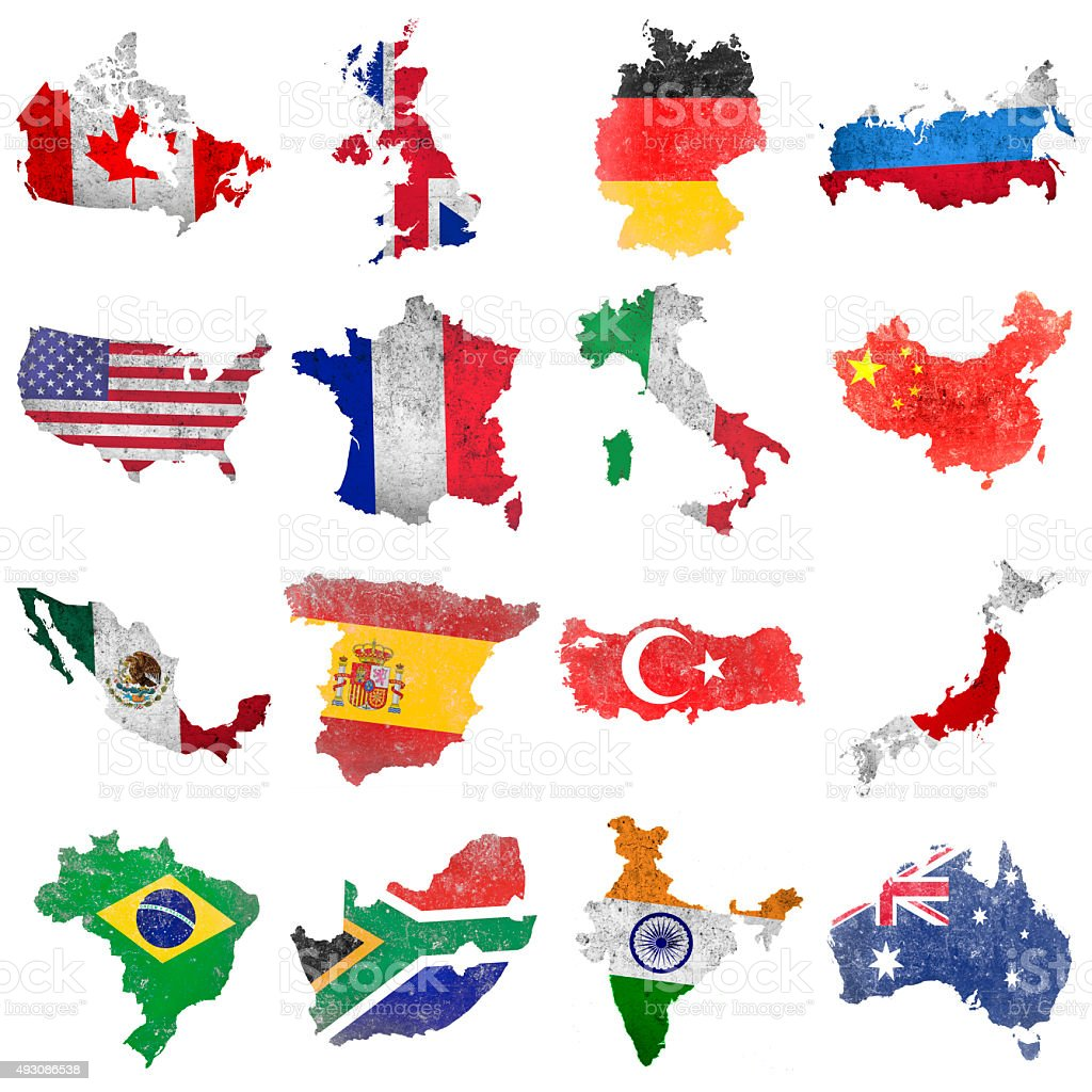 Selection of world flags vector art illustration