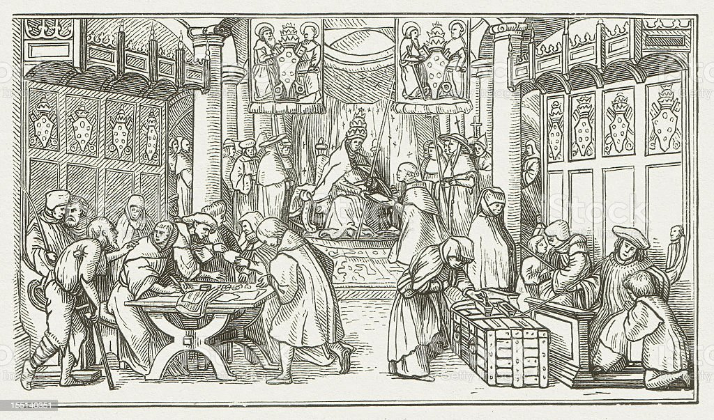 Selling of Indulgences, wood engraving by Hans Holbein, published 1881 royalty-free stock vector art