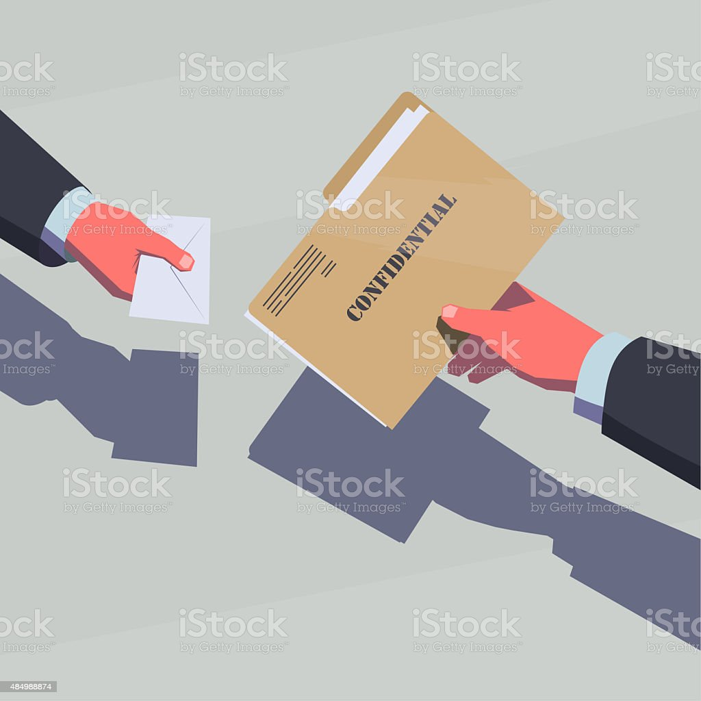 Selling the secret information. vector art illustration