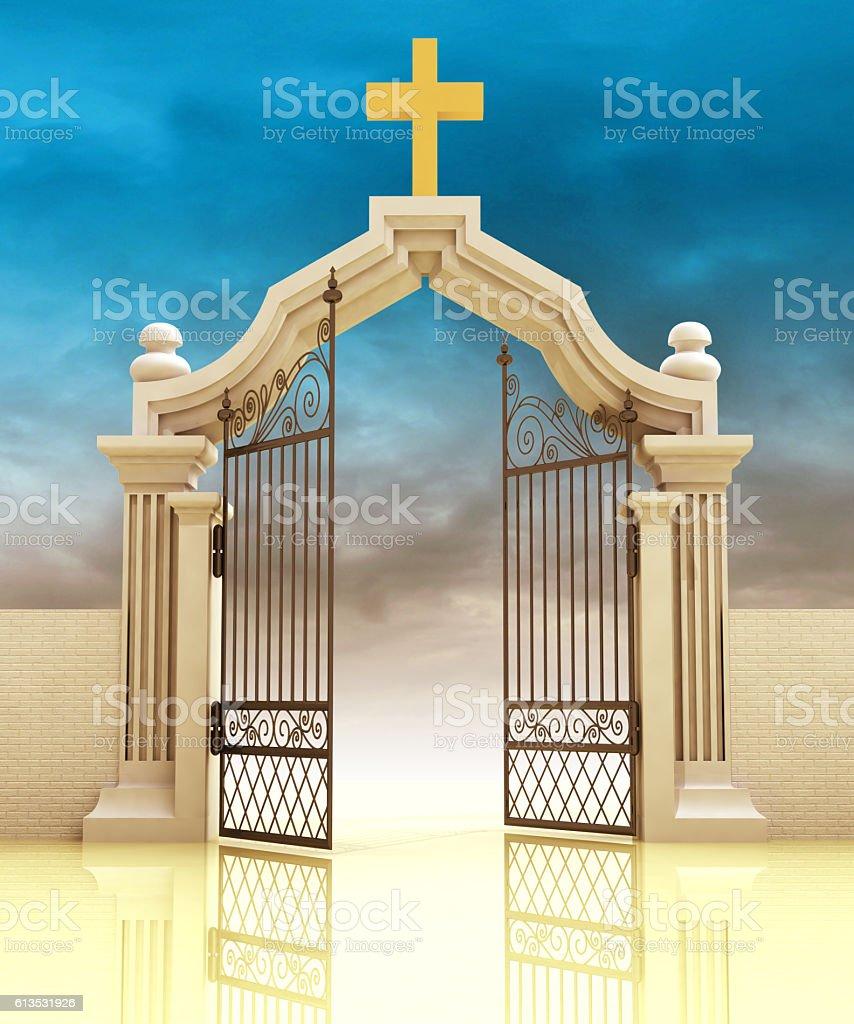 semi opened cemetery gate with golden cross vector art illustration