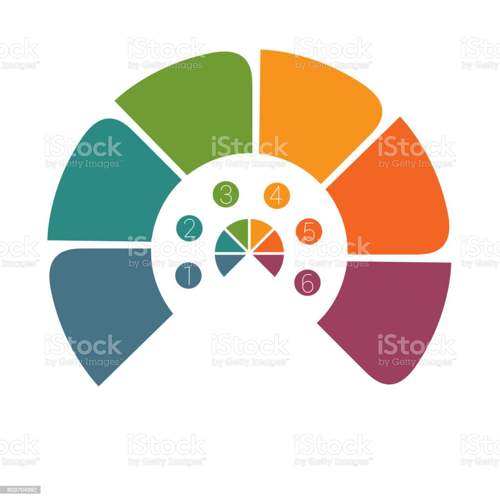 Semicircle template infographic vector art illustration