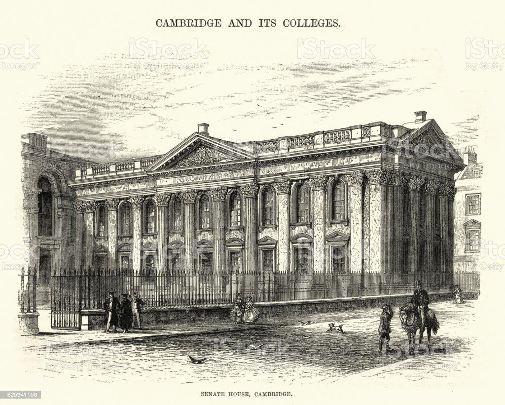 Senate House, Cambridge, 19th Century vector art illustration