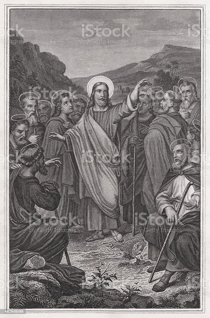 Sending out of the Twelve Apostles, Steel engraving, published 1879 vector art illustration