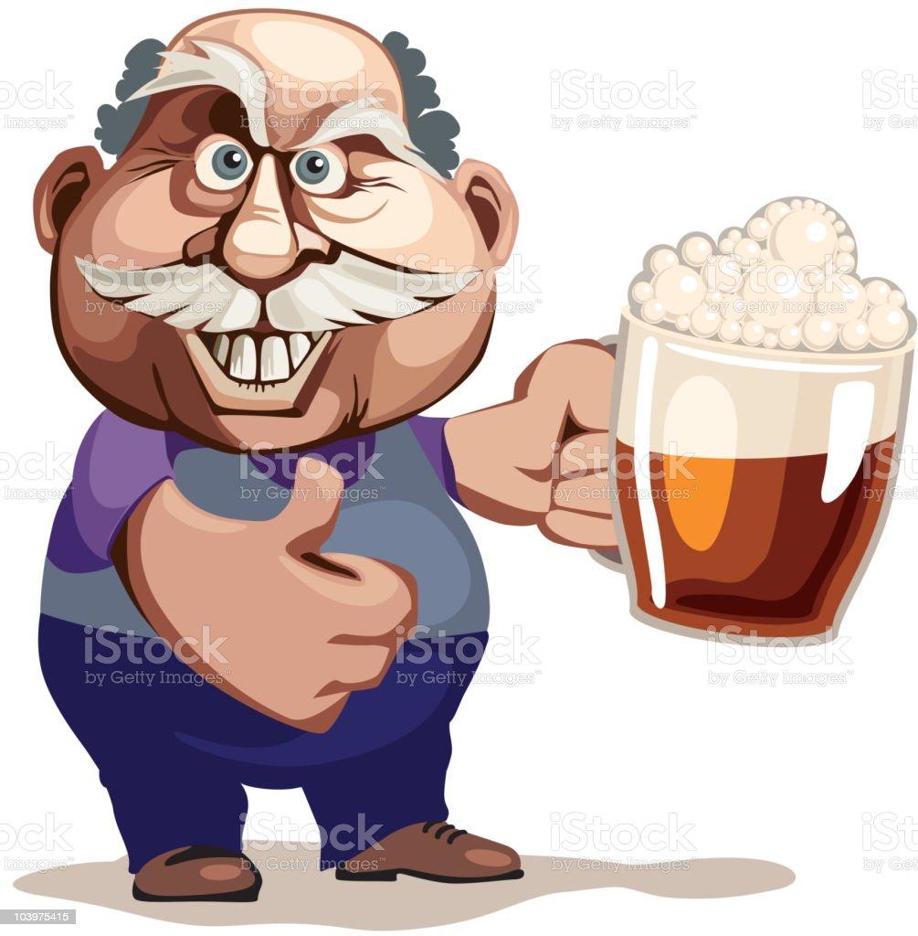Senior man with beer vector art illustration