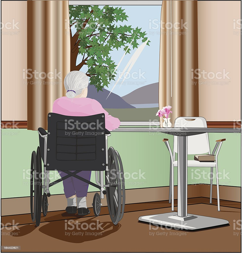 Senior woman in nursing home with wheelchair by window royalty-free stock vector art