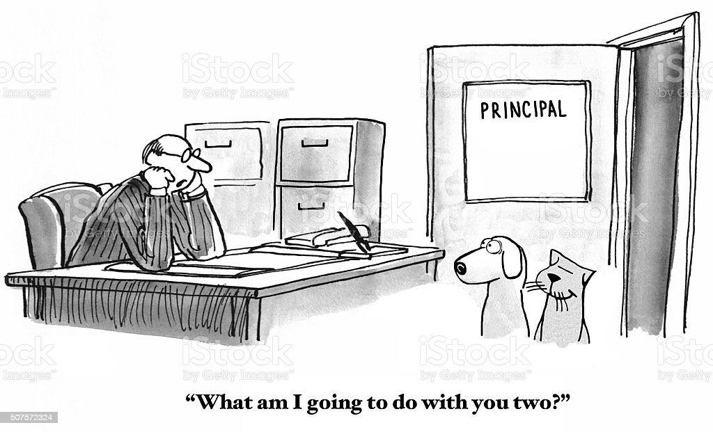 Sent to Principal's Office vector art illustration
